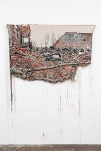 """Lauren Davies, """"Tree,"""" 2015, Deconstructed woven photograph, 72 x 56 in."""
