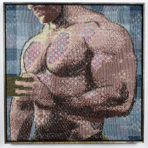 """Trey Ghering, """"#gratidao,"""" 2017, Jacquard tapestry in cotton, polyester, and rayon, 23 x 23 in."""