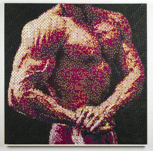"""Trey Ghering, """"#shredded,"""" 2017, Machine knitted cotton, 23 x 23 in."""